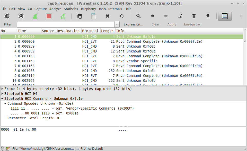 hci uart wireshark